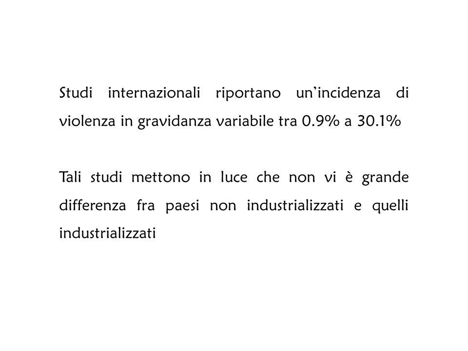 Studi internazionali riportano un'incidenza di violenza in gravidanza variabile tra 0.9% a 30.1%