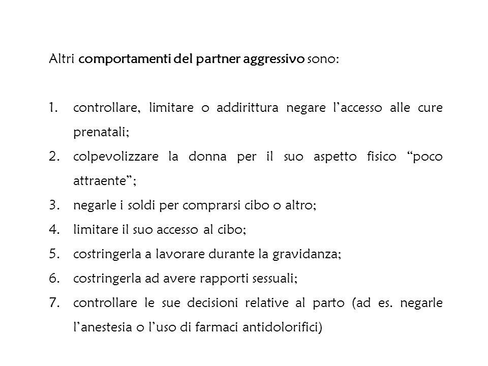 Altri comportamenti del partner aggressivo sono: