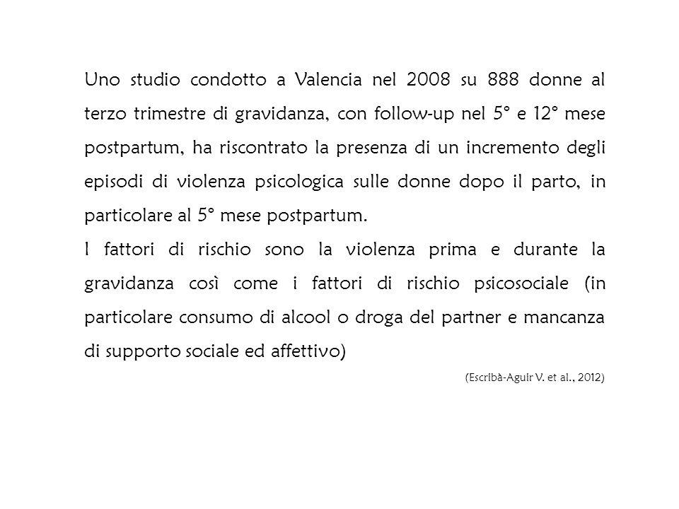 Uno studio condotto a Valencia nel 2008 su 888 donne al terzo trimestre di gravidanza, con follow-up nel 5° e 12° mese postpartum, ha riscontrato la presenza di un incremento degli episodi di violenza psicologica sulle donne dopo il parto, in particolare al 5° mese postpartum.