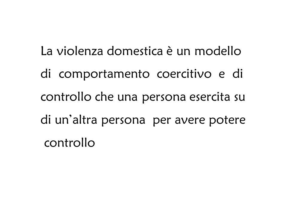 La violenza domestica è un modello di comportamento coercitivo e di controllo che una persona esercita su di un'altra persona per avere potere controllo