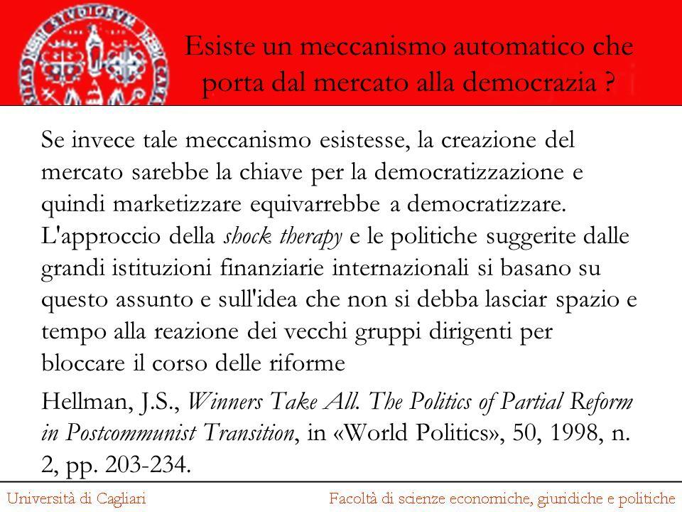 Esiste un meccanismo automatico che porta dal mercato alla democrazia