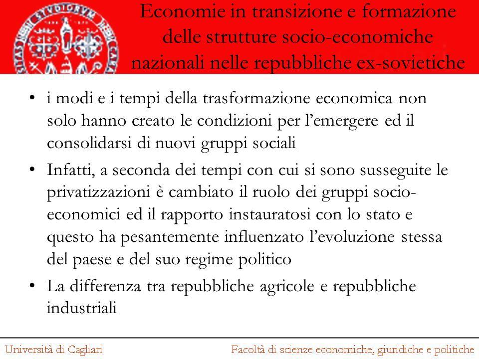 Economie in transizione e formazione delle strutture socio-economiche nazionali nelle repubbliche ex-sovietiche