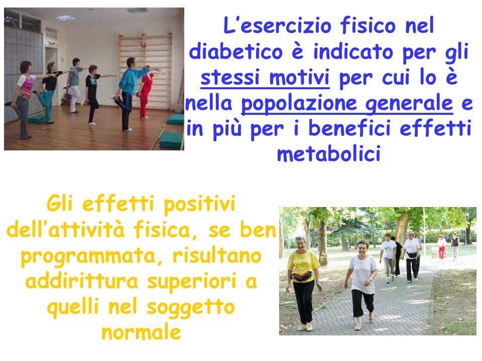 L'esercizio fisico nel diabetico è indicato per gli stessi motivi per cui lo è nella popolazione generale e in più per i benefici effetti metabolici