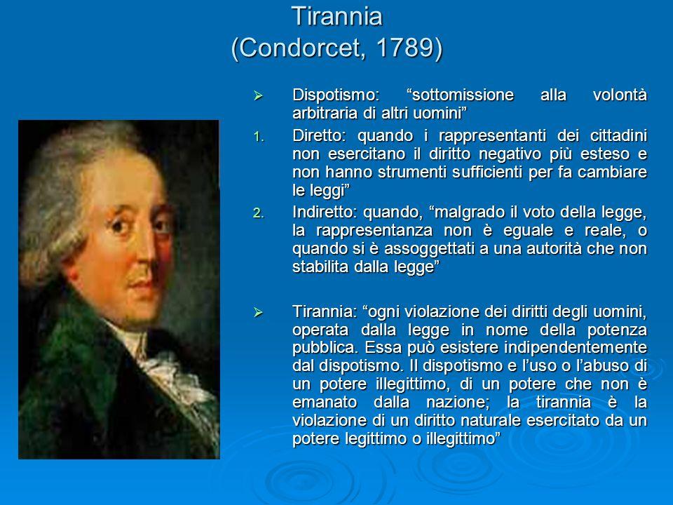 Tirannia (Condorcet, 1789) Dispotismo: sottomissione alla volontà arbitraria di altri uomini