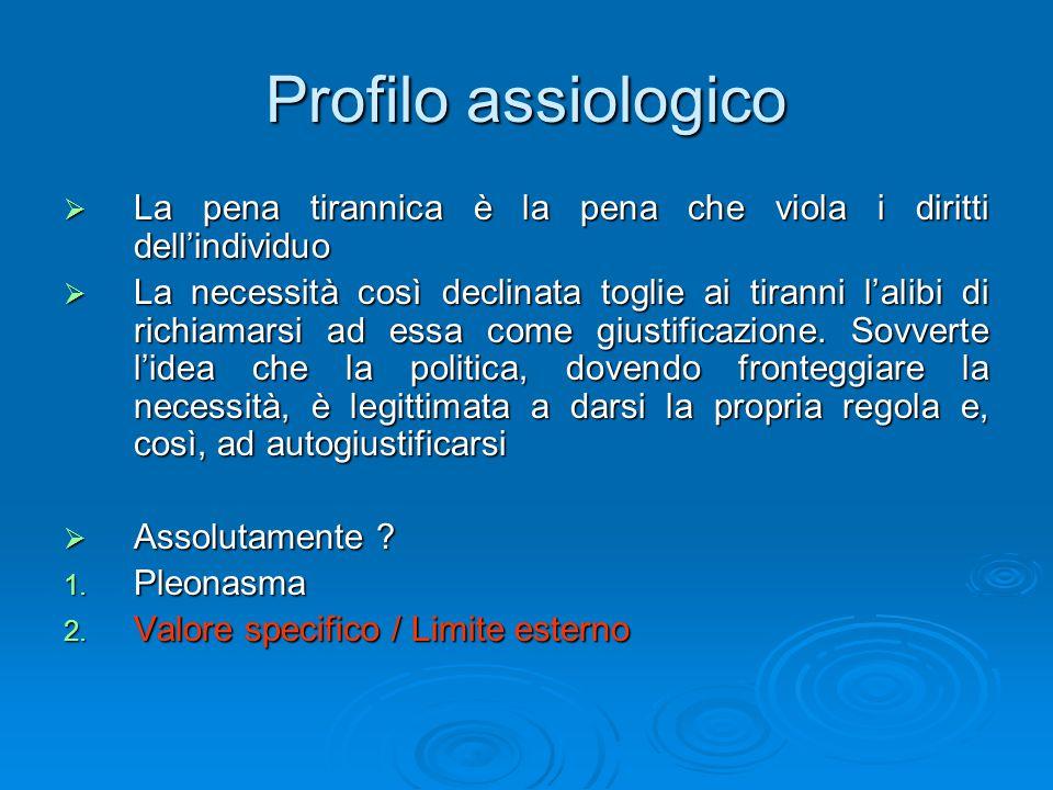 Profilo assiologico La pena tirannica è la pena che viola i diritti dell'individuo.