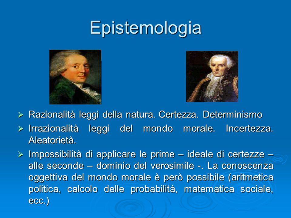 Epistemologia Razionalità leggi della natura. Certezza. Determinismo