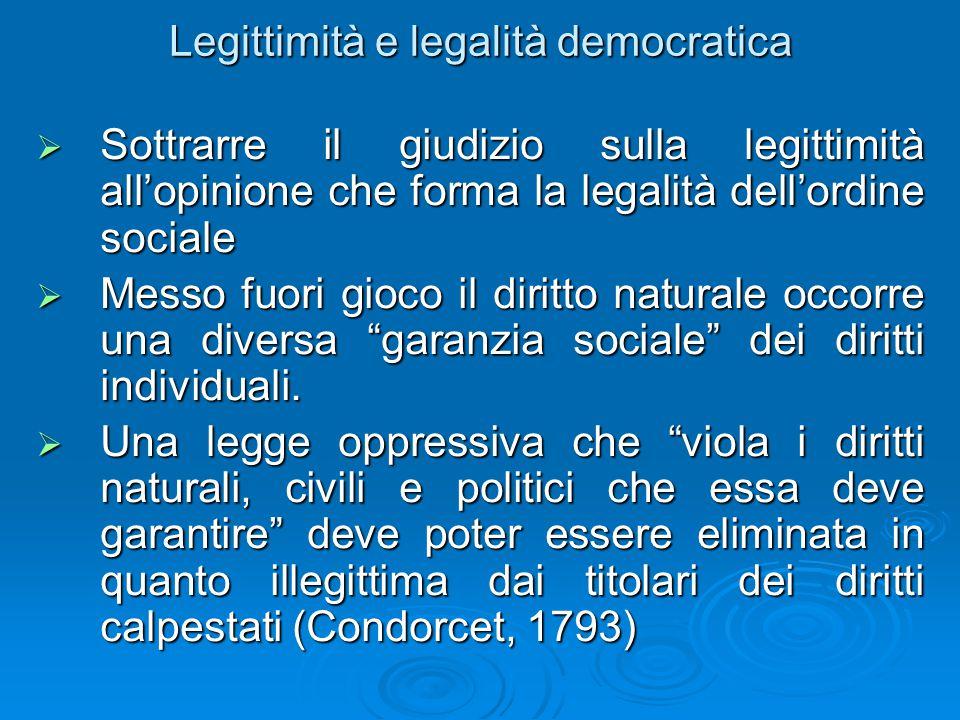 Legittimità e legalità democratica