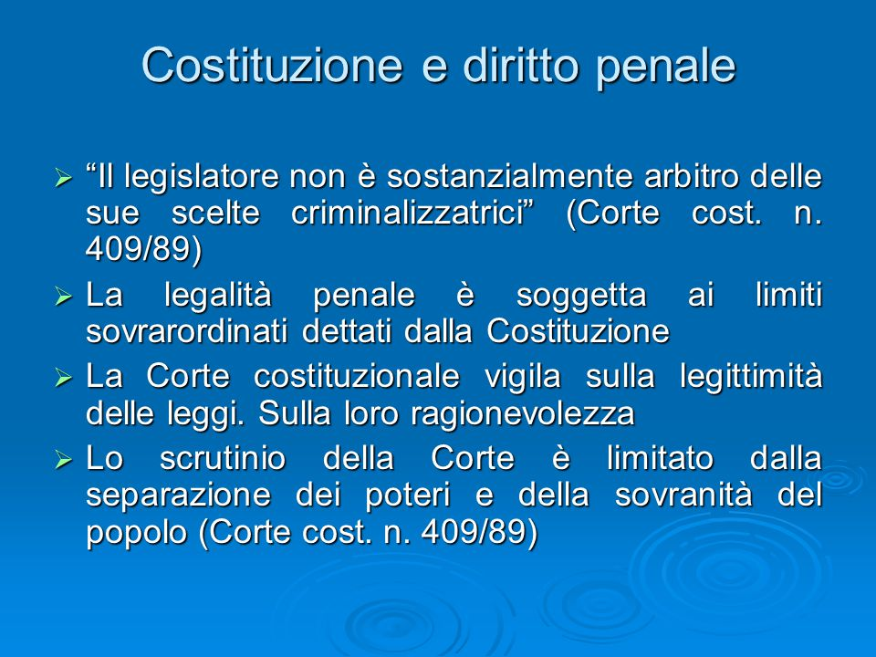 Costituzione e diritto penale