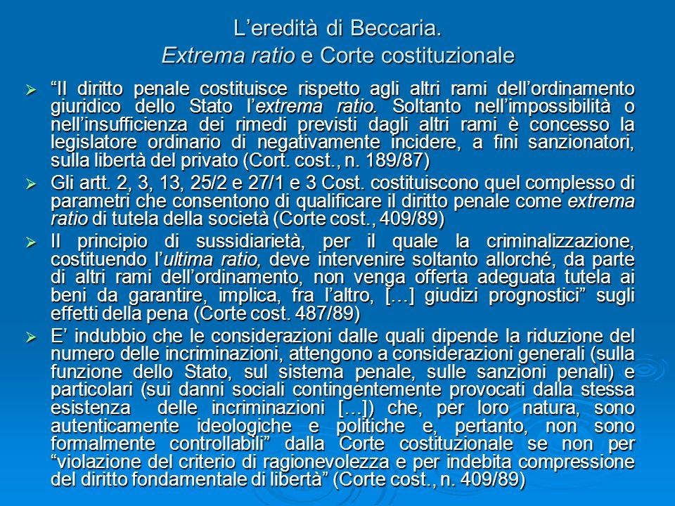 L'eredità di Beccaria. Extrema ratio e Corte costituzionale