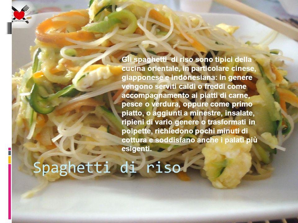 Gli spaghetti di riso sono tipici della cucina orientale, in particolare cinese, giapponese e indonesiana: in genere vengono serviti caldi o freddi come accompagnamento ai piatti di carne, pesce o verdura, oppure come primo piatto, o aggiunti a minestre, insalate, ripieni di vario genere o trasformati in polpette, richiedono pochi minuti di cottura e soddisfano anche i palati più esigenti.