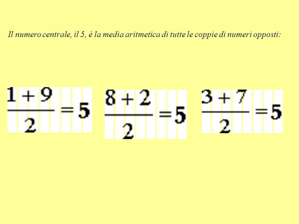 Il numero centrale, il 5, è la media aritmetica di tutte le coppie di numeri opposti: