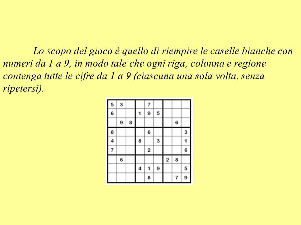 Lo scopo del gioco è quello di riempire le caselle bianche con numeri da 1 a 9, in modo tale che ogni riga, colonna e regione contenga tutte le cifre da 1 a 9 (ciascuna una sola volta, senza ripetersi).