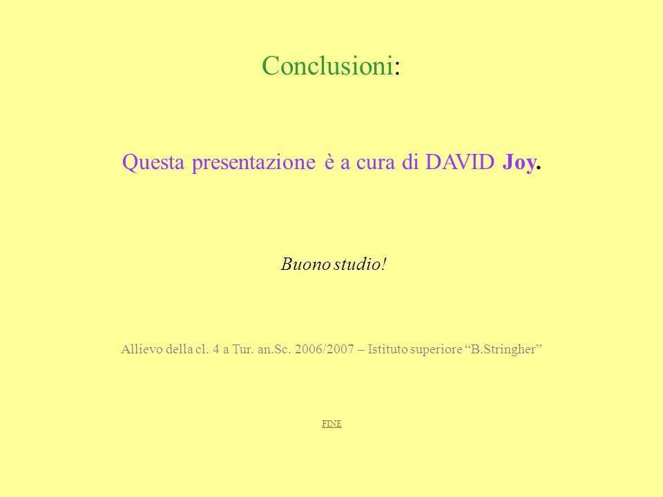 Questa presentazione è a cura di DAVID Joy.
