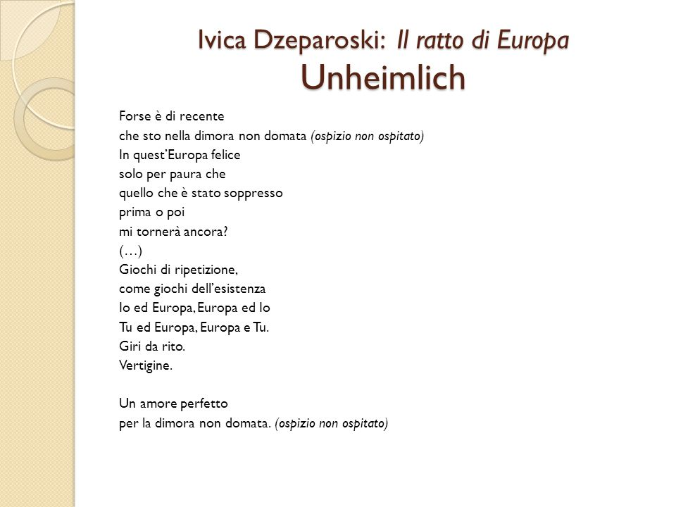 Ivica Dzeparoski: Il ratto di Europa Unheimlich