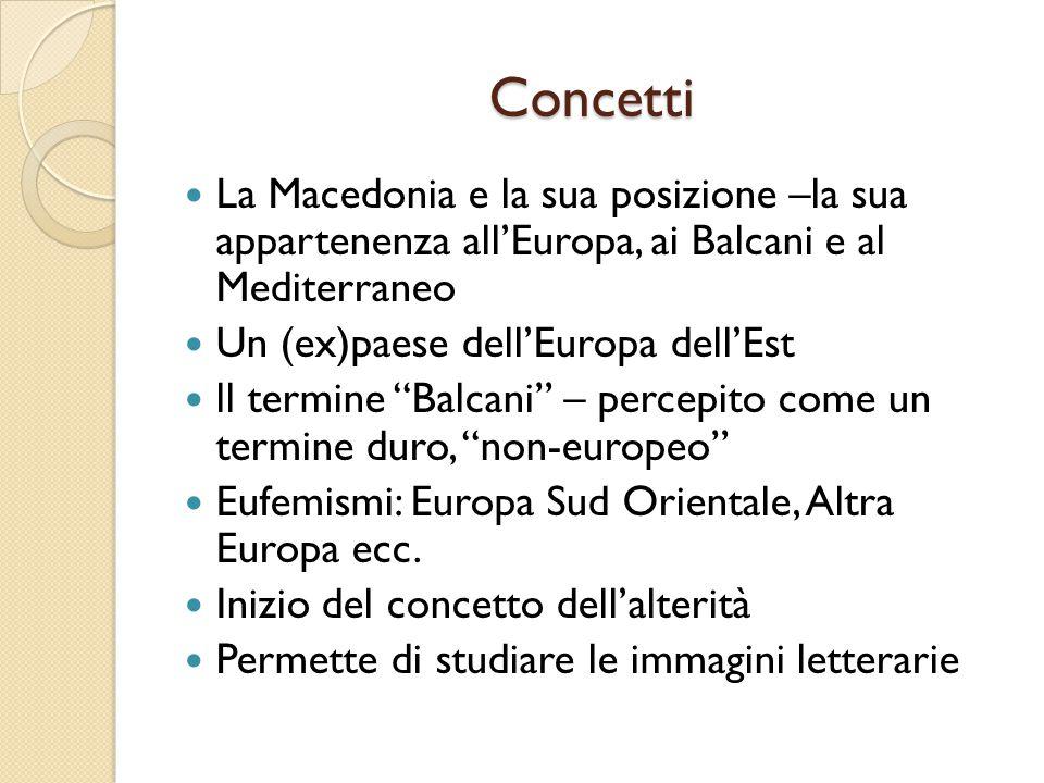 Concetti La Macedonia e la sua posizione –la sua appartenenza all'Europa, ai Balcani e al Mediterraneo.