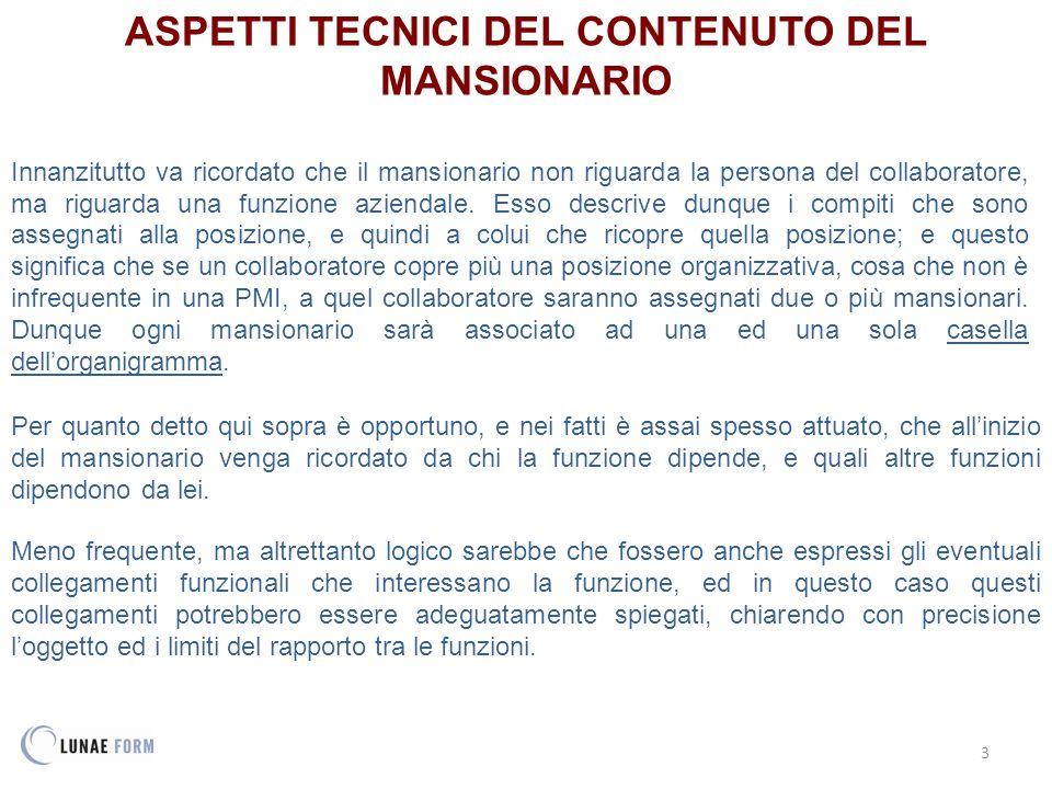 ASPETTI TECNICI DEL CONTENUTO DEL MANSIONARIO
