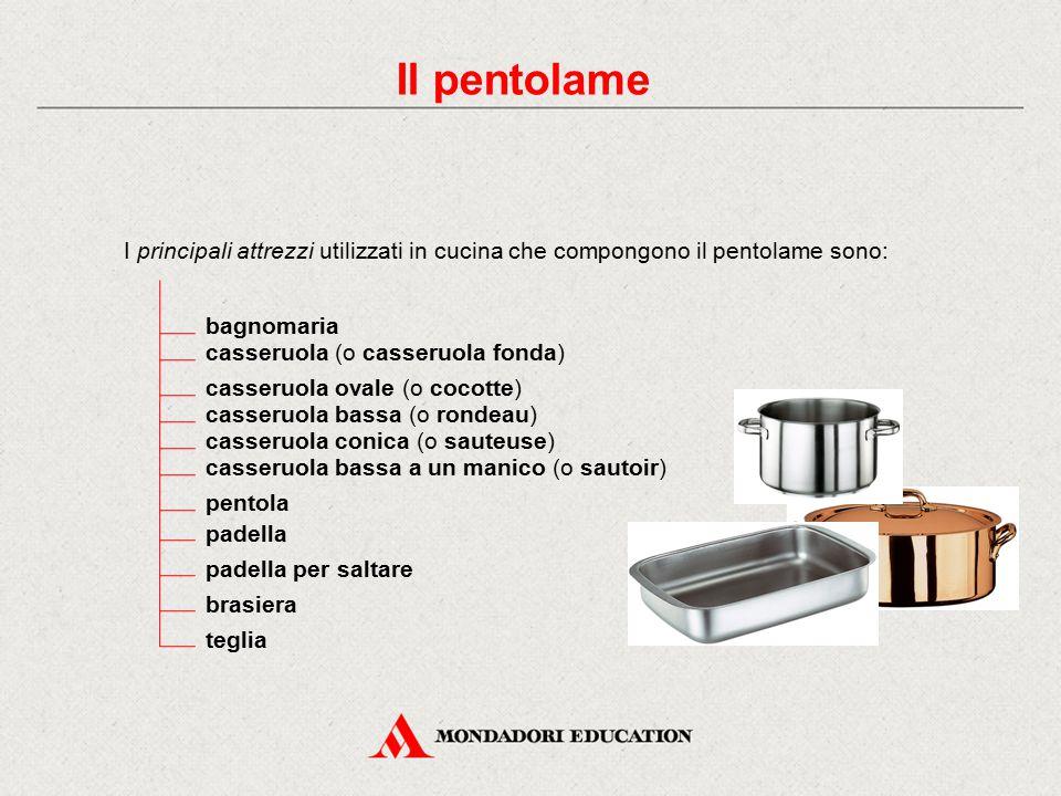 Il pentolame I principali attrezzi utilizzati in cucina che compongono il pentolame sono: bagnomaria.