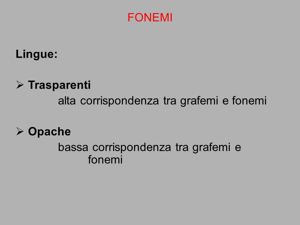 FONEMI Lingue: Trasparenti. alta corrispondenza tra grafemi e fonemi.