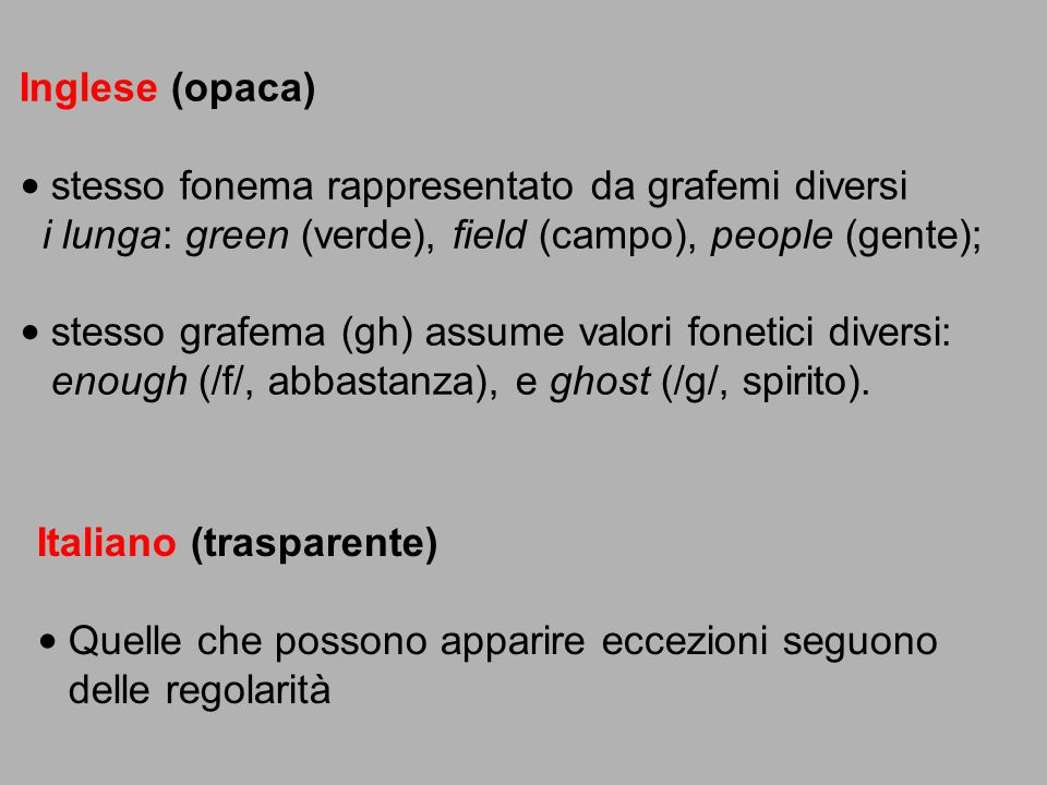 Inglese (opaca) stesso fonema rappresentato da grafemi diversi. i lunga: green (verde), field (campo), people (gente);