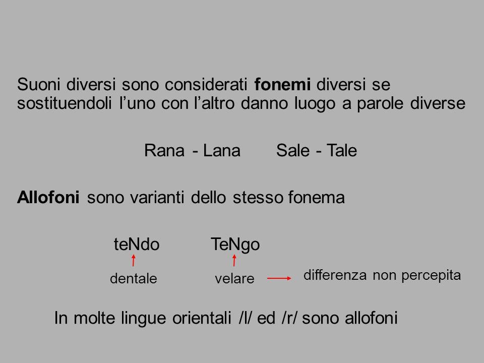 In molte lingue orientali /l/ ed /r/ sono allofoni