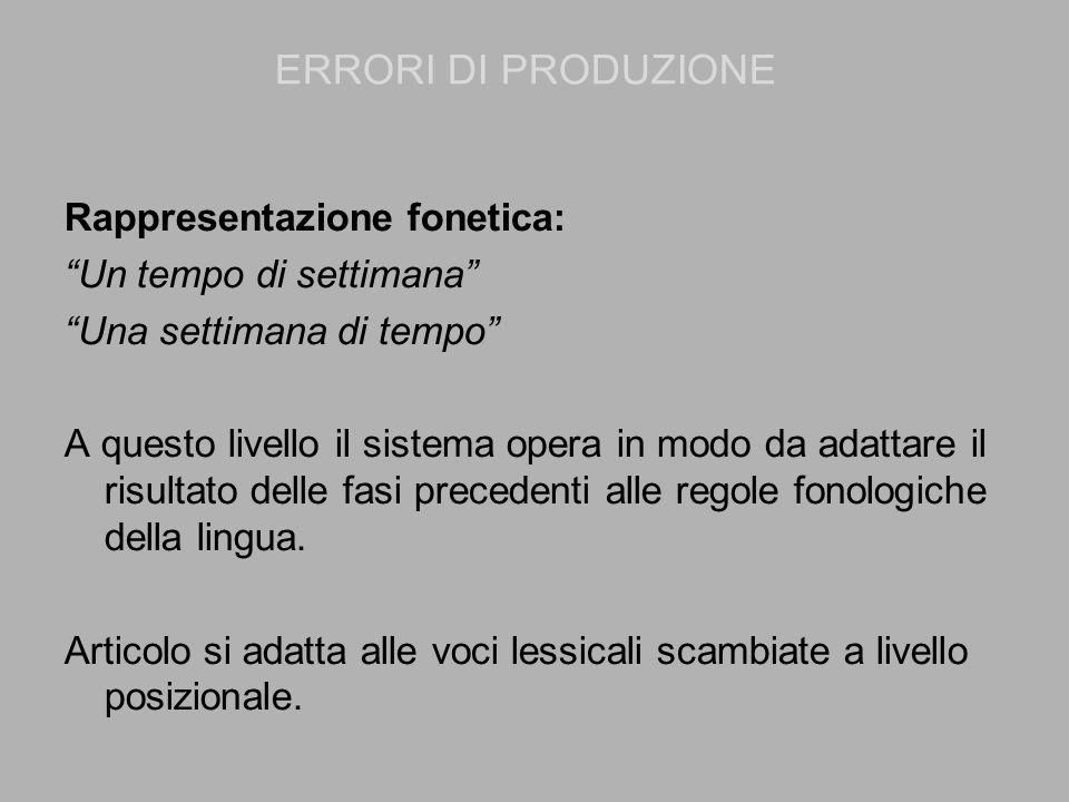 ERRORI DI PRODUZIONE Rappresentazione fonetica: