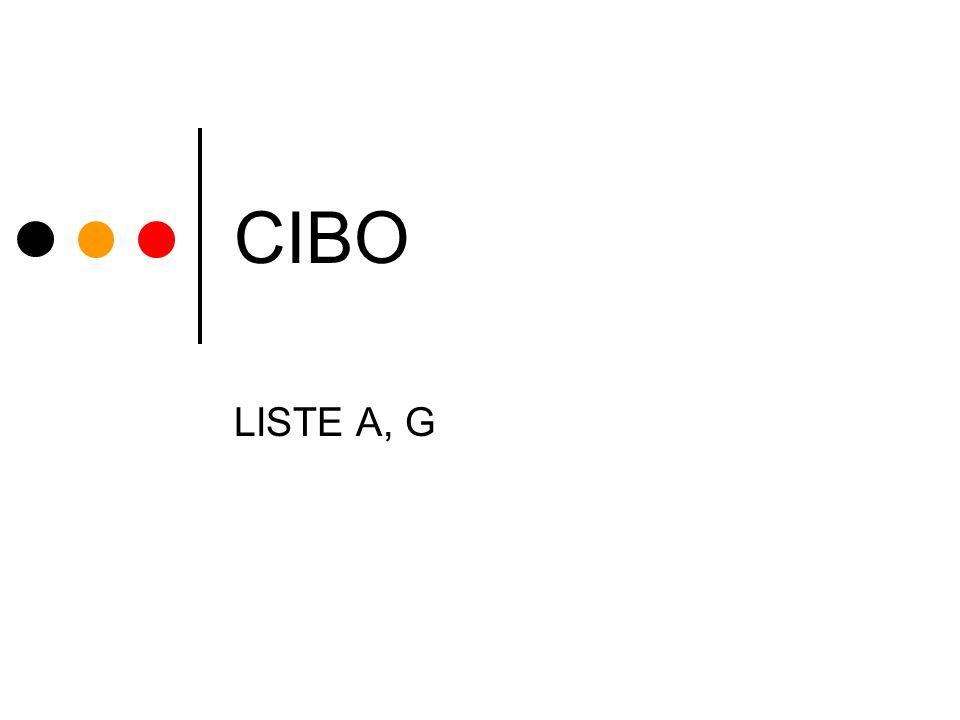 CIBO LISTE A, G