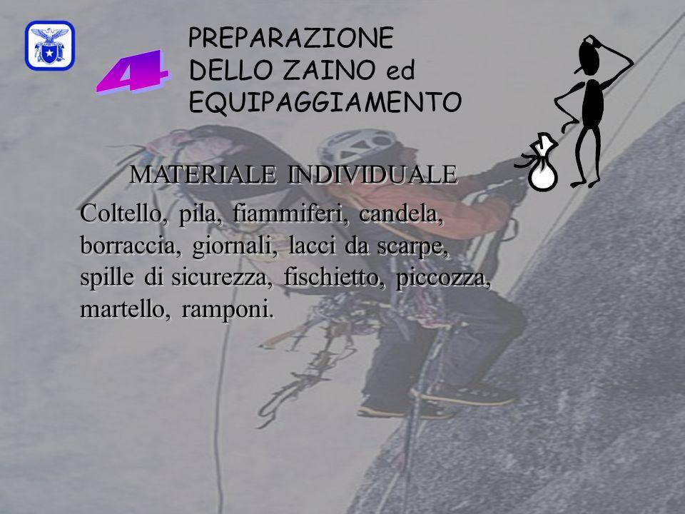 PREPARAZIONE DELLO ZAINO ed EQUIPAGGIAMENTO