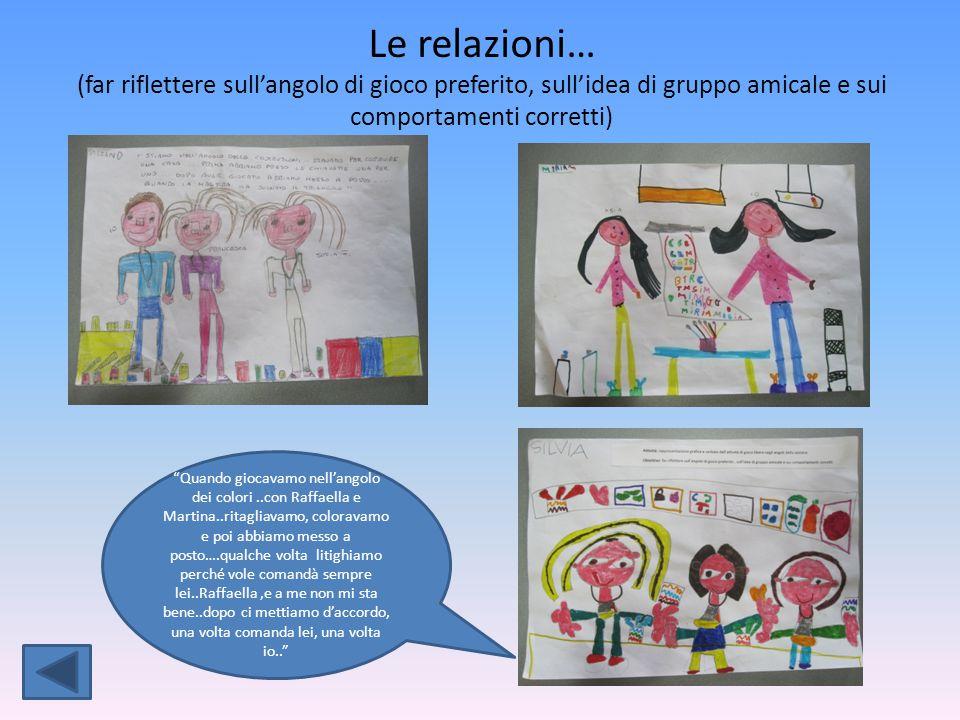 Le relazioni… (far riflettere sull'angolo di gioco preferito, sull'idea di gruppo amicale e sui comportamenti corretti)