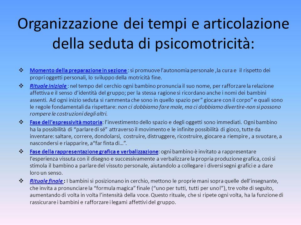 Organizzazione dei tempi e articolazione della seduta di psicomotricità: