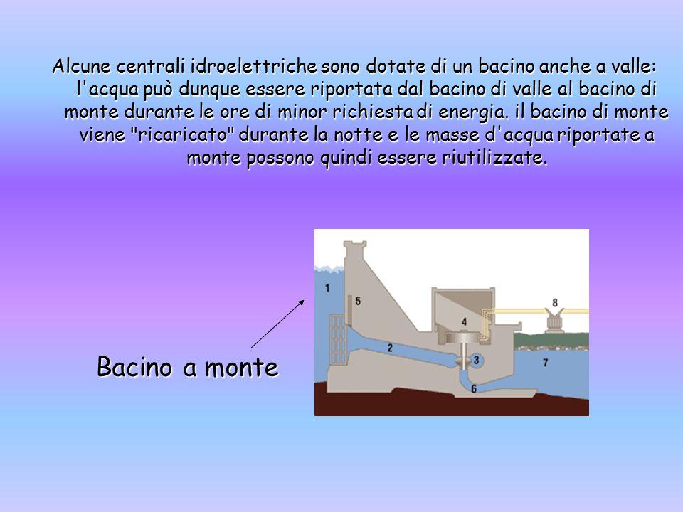 Alcune centrali idroelettriche sono dotate di un bacino anche a valle: l acqua può dunque essere riportata dal bacino di valle al bacino di monte durante le ore di minor richiesta di energia. il bacino di monte viene ricaricato durante la notte e le masse d acqua riportate a monte possono quindi essere riutilizzate.