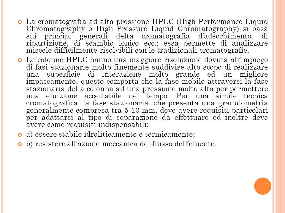 La cromatografia ad alta pressione HPLC (High Performance Liquid Chromatography o High Pressure Liquid Chromatography) si basa sui principi generali delta cromatografia d'adsorbimento, di ripartizione, di scambio ionico ecc.; essa permette di analizzare miscele difficilmente risolvibili con le tradizionali cromatografie.