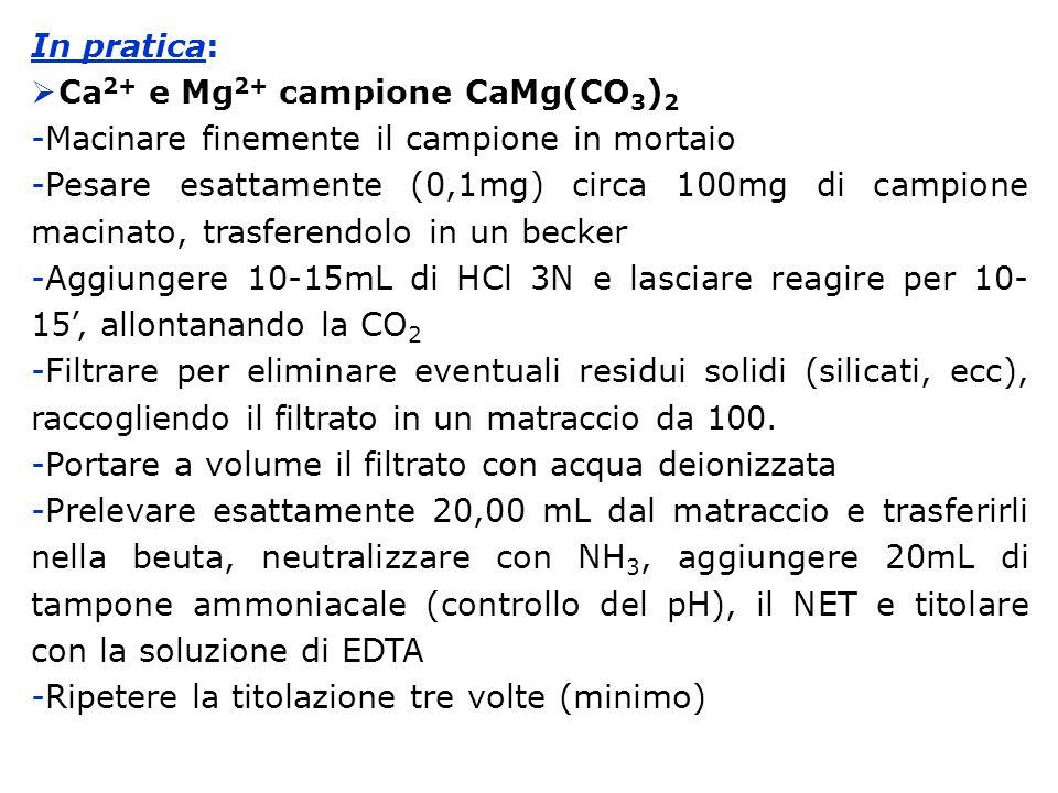 In pratica: Ca2+ e Mg2+ campione CaMg(CO3)2. Macinare finemente il campione in mortaio.
