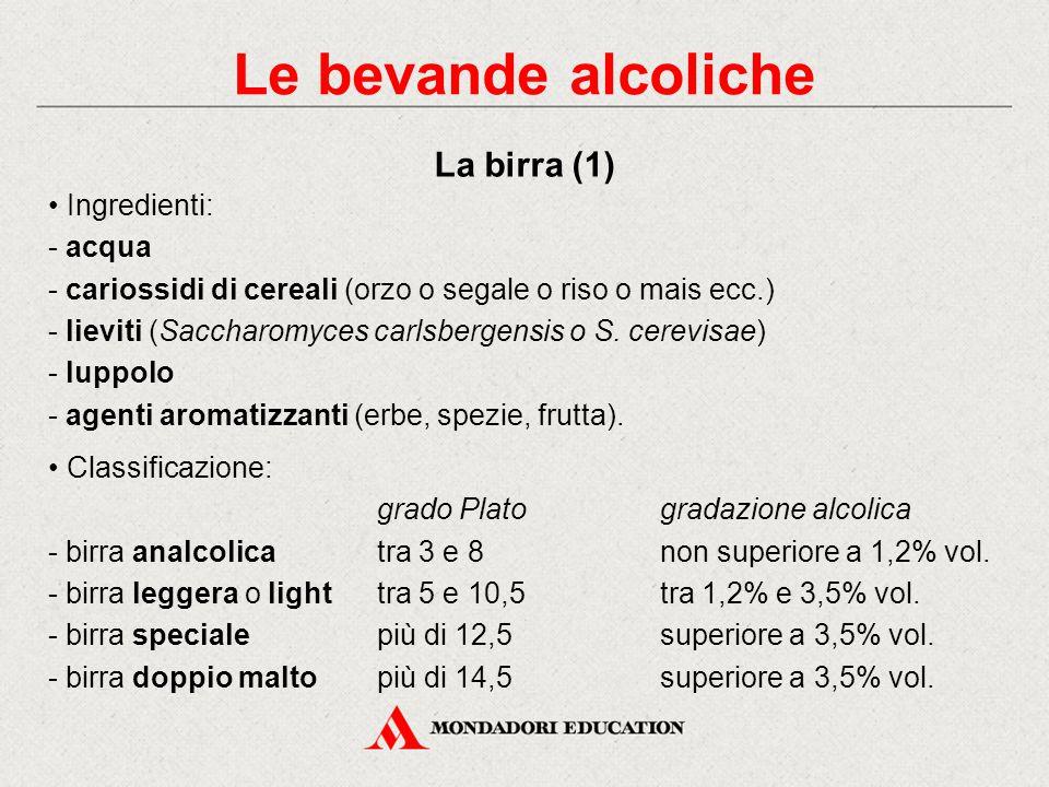 Le bevande alcoliche La birra (1) • Ingredienti: acqua