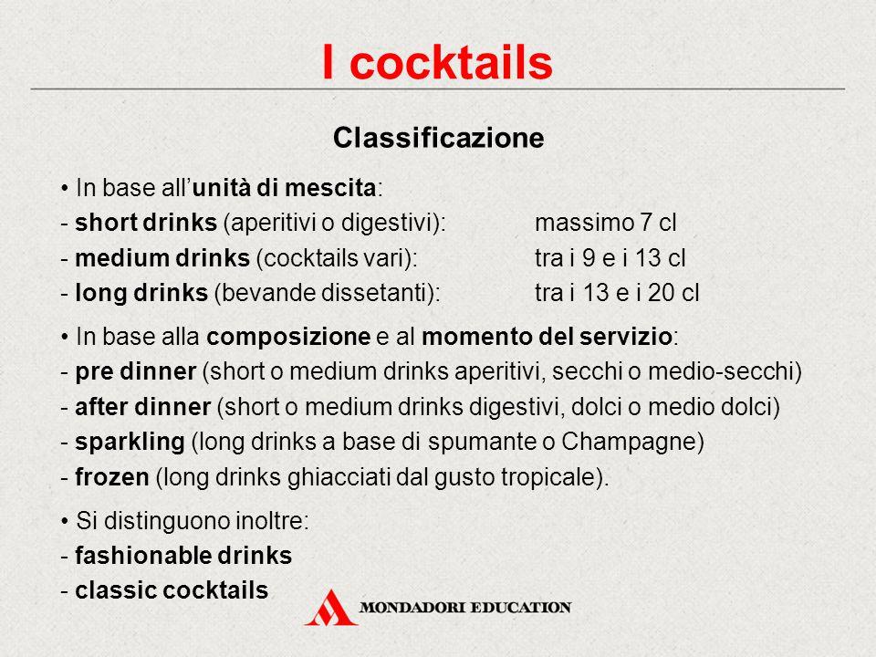 I cocktails Classificazione • In base all'unità di mescita: