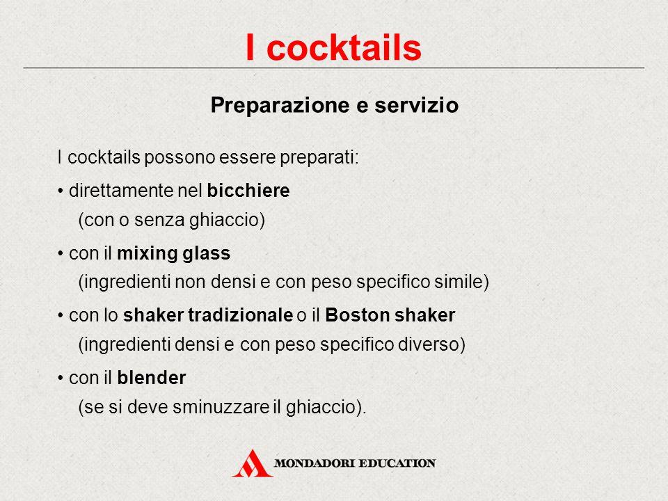 I cocktails Preparazione e servizio