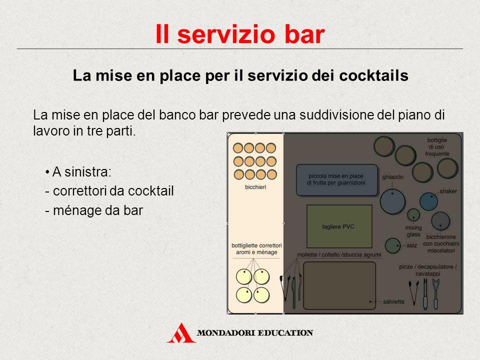 Il servizio bar La mise en place per il servizio dei cocktails