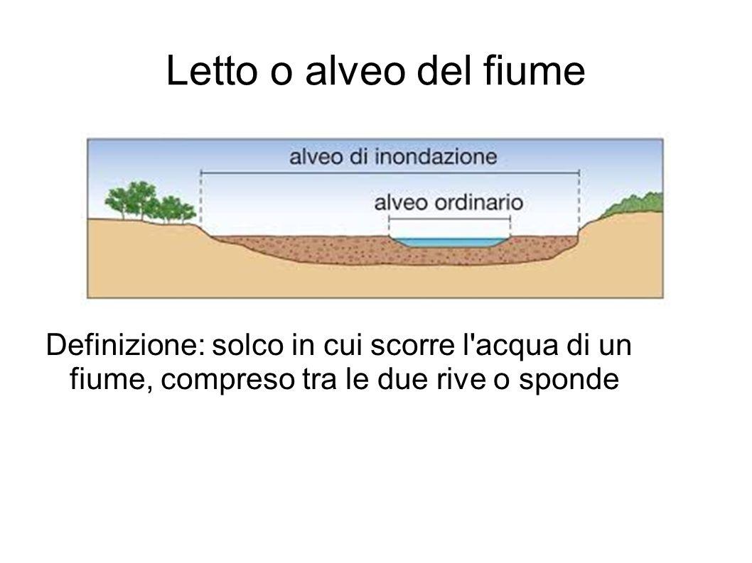 Letto o alveo del fiume Definizione: solco in cui scorre l acqua di un fiume, compreso tra le due rive o sponde.