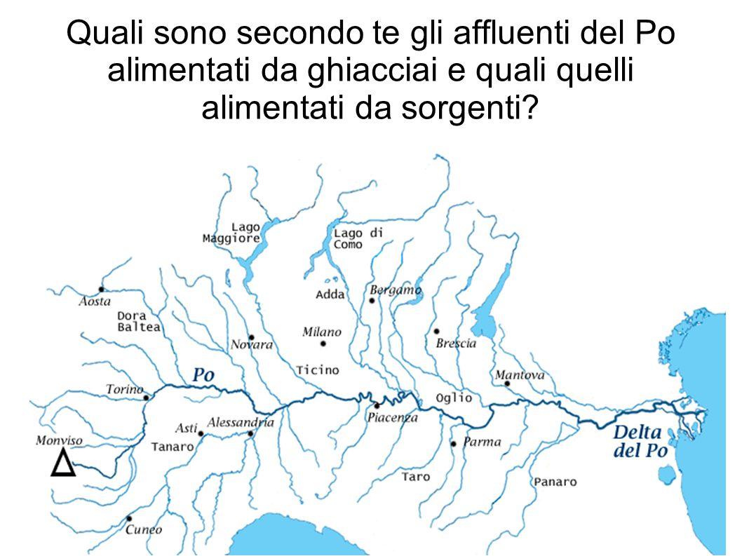 Quali sono secondo te gli affluenti del Po alimentati da ghiacciai e quali quelli alimentati da sorgenti