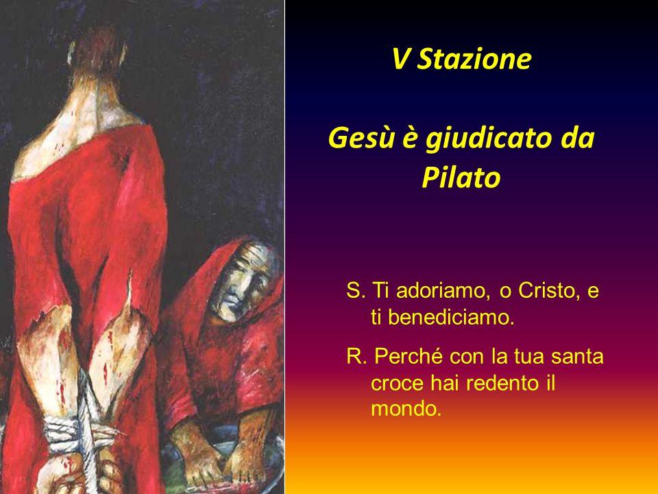 V Stazione Gesù è giudicato da Pilato