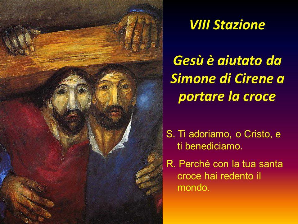 VIII Stazione Gesù è aiutato da Simone di Cirene a portare la croce