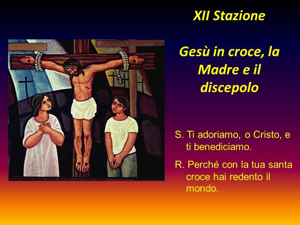 XII Stazione Gesù in croce, la Madre e il discepolo