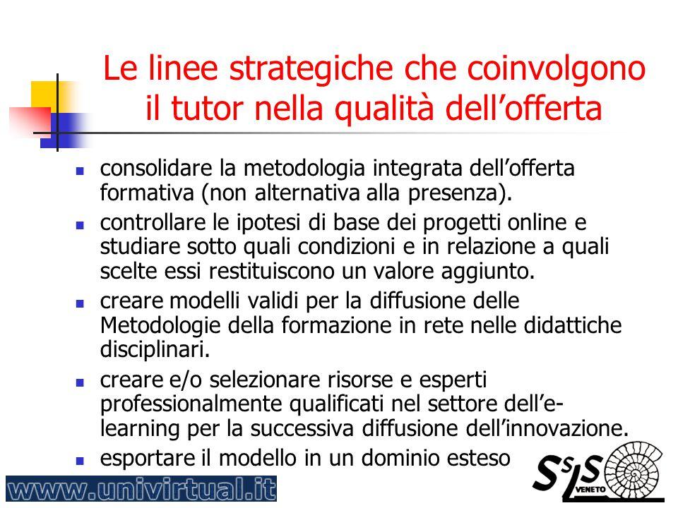 Le linee strategiche che coinvolgono il tutor nella qualità dell'offerta