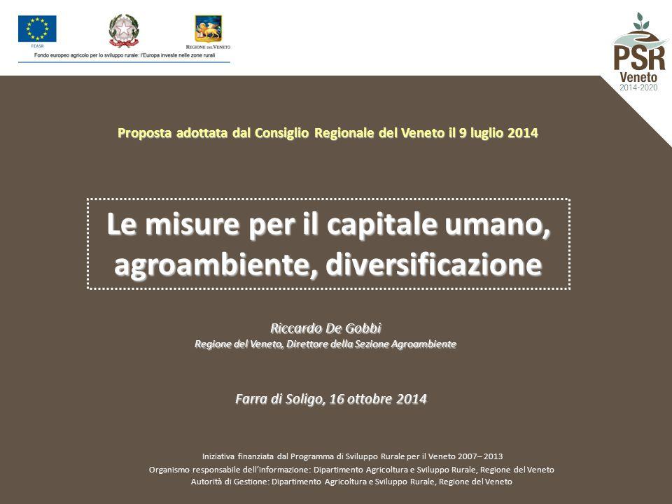 Le misure per il capitale umano, agroambiente, diversificazione