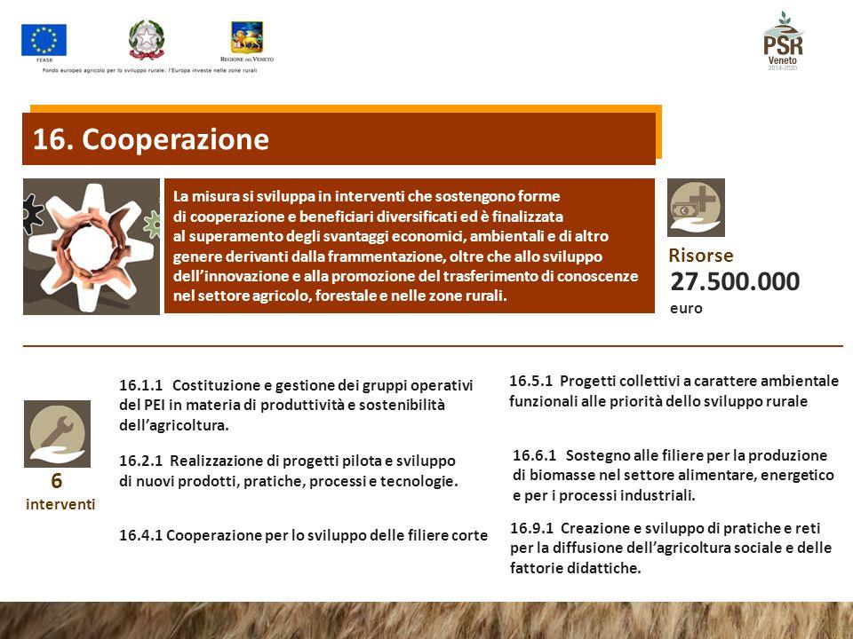 16. Cooperazione La misura si sviluppa in interventi che sostengono forme. di cooperazione e beneficiari diversificati ed è finalizzata.