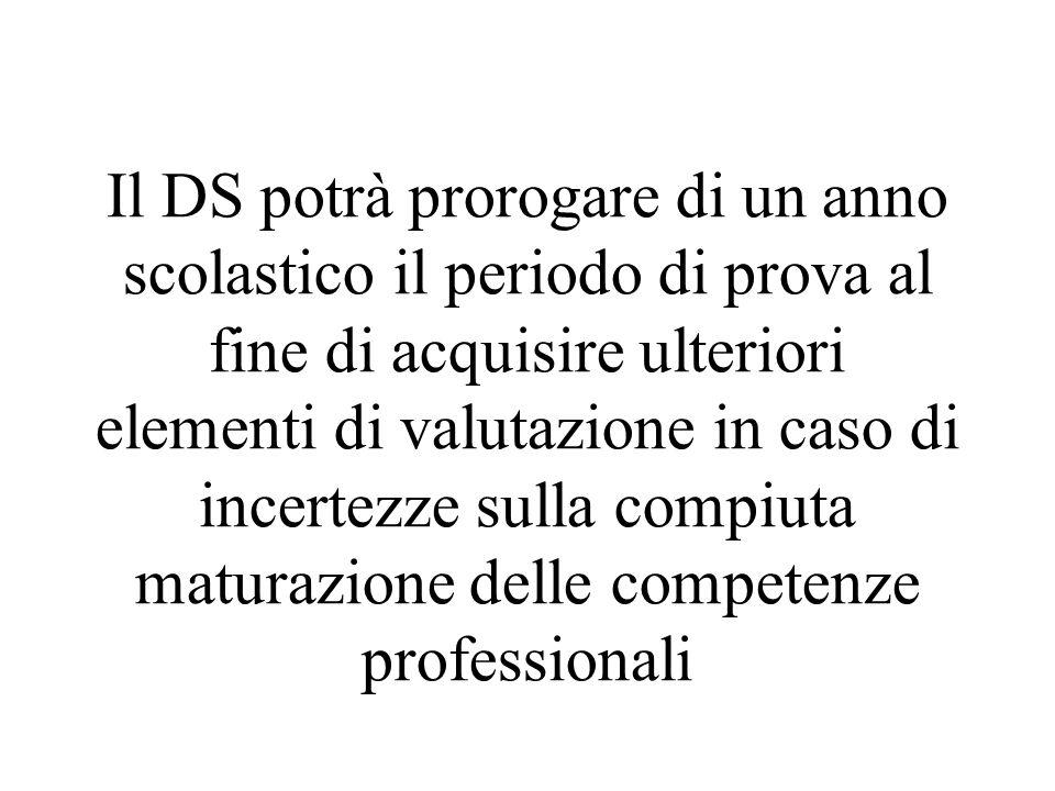 Il DS potrà prorogare di un anno scolastico il periodo di prova al fine di acquisire ulteriori elementi di valutazione in caso di incertezze sulla compiuta maturazione delle competenze professionali