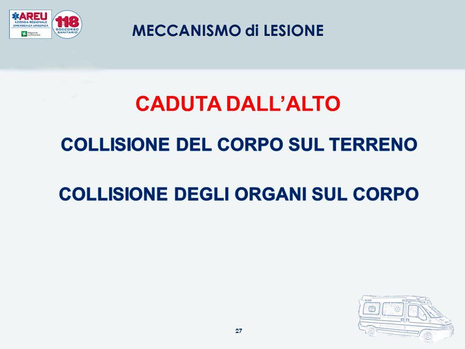 COLLISIONE DEL CORPO SUL TERRENO COLLISIONE DEGLI ORGANI SUL CORPO