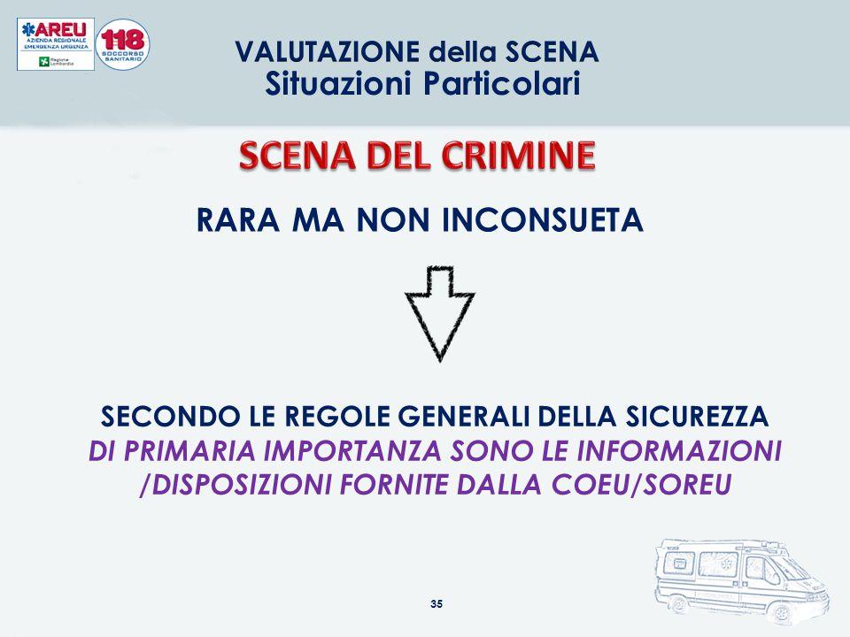 SCENA DEL CRIMINE Situazioni Particolari RARA MA NON INCONSUETA