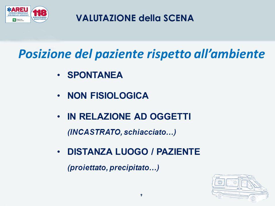 VALUTAZIONE della SCENA Posizione del paziente rispetto all'ambiente