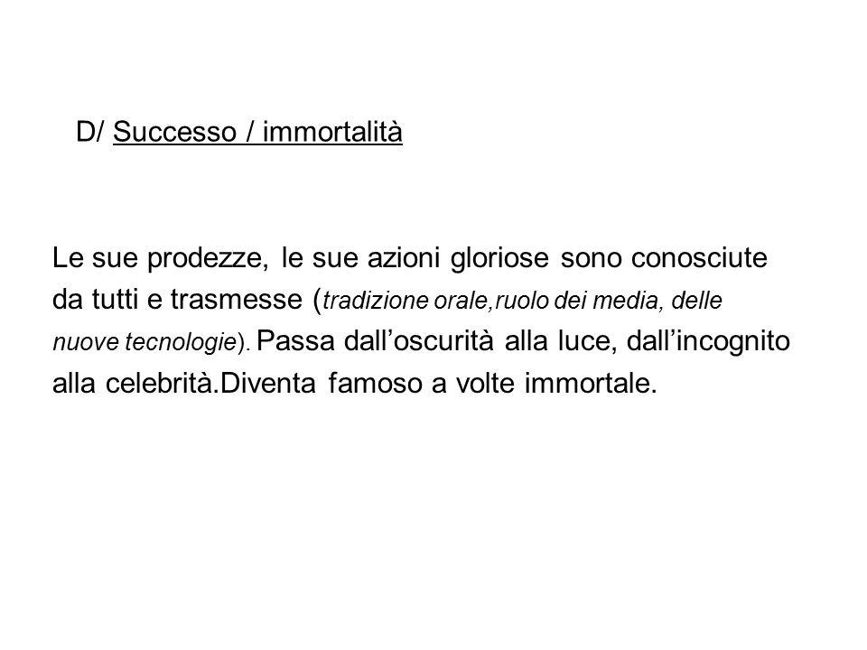 D/ Successo / immortalità