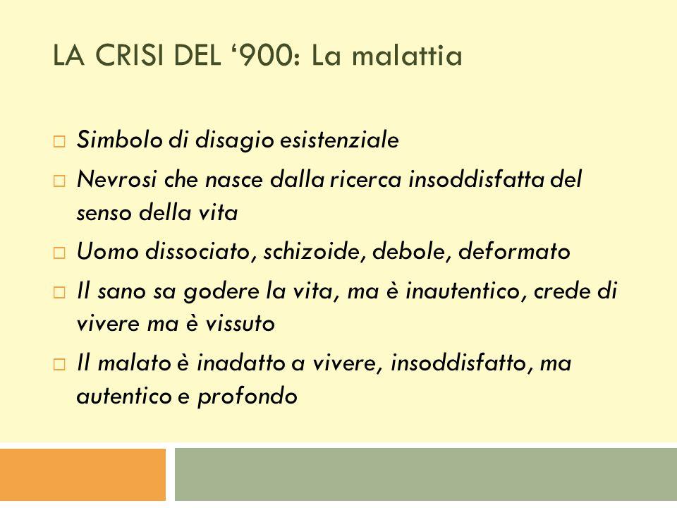 LA CRISI DEL '900: La malattia